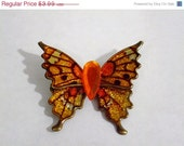 50% CLEARANCE SALE Vintage Butterfly Brooch, Bright Glittered Orange, Gold & Bronze