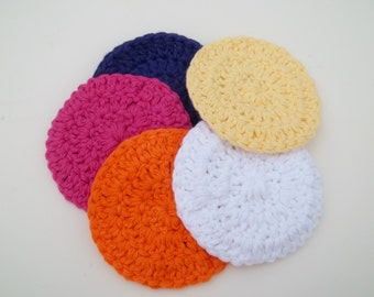 Cotton Wash Cloth Rounds in Bright Colors