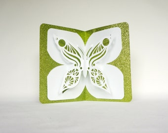 BUTTERFLY LOVE St Patrick 3D Pop Up Card Handmade Handcut in Metallic Shimmery Neon Green and White One Of A Kind