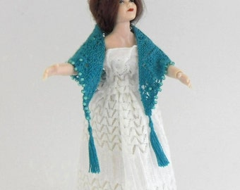 Dollhouse Miniature Shawl with Tassels, 1:12 Scale Hand Knit With Turquoise Fine Pure Silk Thread and Bead Decoration.