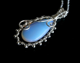 Moonstone Pendant , Moonstone Necklace, Wire Wrapped Necklace, Silver Pendant, Wire pendant