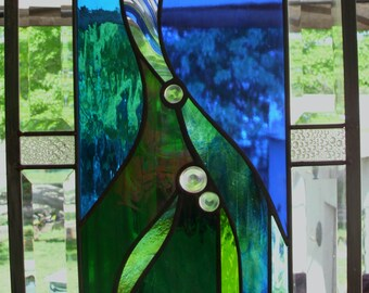 Stained Glass Window Panel Abstract Wind & Water Beveled glass Blue