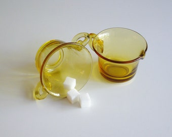 Vintage Cream and Sugar Set, Josef Inwald, Golden Amber, Perforal Bead & Open Lace Pattern, Elegant Glass
