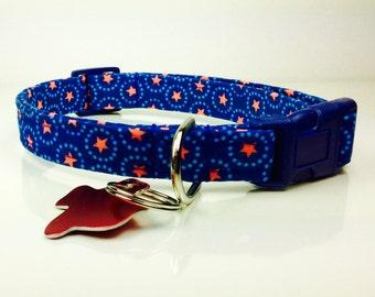 Stars and Circles - Dog Collar - Adjustable