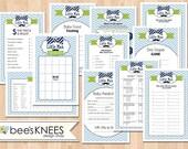 Little Man Baby Shower Game Set Printable Bingo Cards - Instant Download