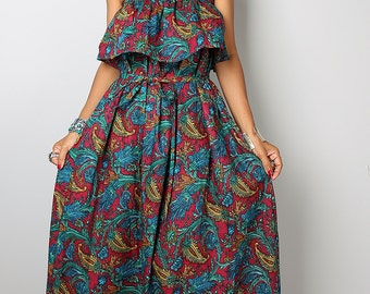 Summer Dress - Bohemian Ruffle Halter Dress: Sunny Dreams Collection No.4