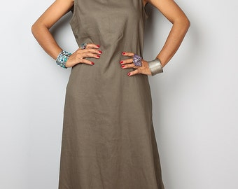 Sleeveless Dress with hood / Long Dress /  / Linen Dress  : The Soul of the Orient Collection No.4