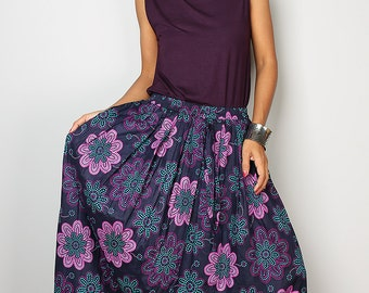 Blue Skirt with Purple Foral Print - Boho Maxi Skirt : Feel Good Collection No.1