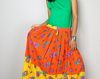 Maxi Skirt - Summer Skirt - Orange Yellow Floral Skirt : Feel Good Collection No.1