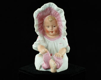 Antique Gebruder Heubach (Heubach Brothers) Bisque Porcelain Piano Baby - Girl in Pink Sunbonnet