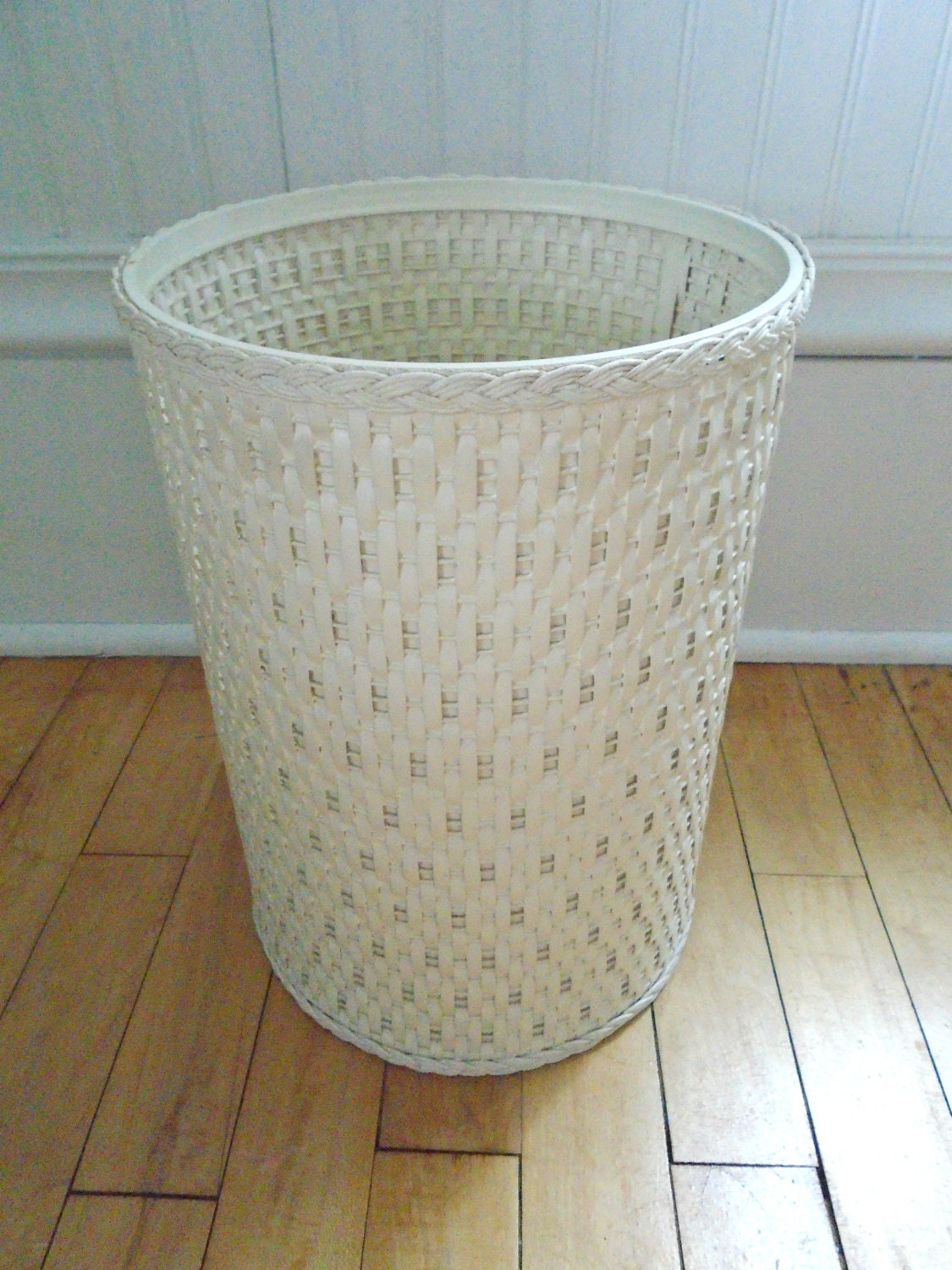 White wicker bathroom waste basket r wall decal for Waste baskets for bathroom