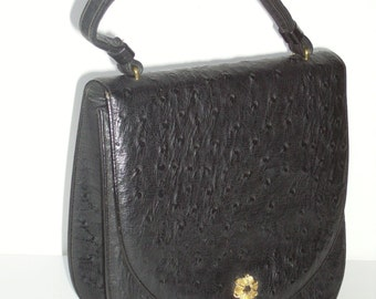 PRESTIGE Vintage 50s 60s Black Ostrich Embossed Leather Handbag Purse