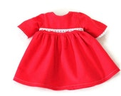 Doll Nightgown Christmas Red Nightie Fuzzy Pajamas Nightie Holidays Scarlet White Lace Fits 14 to 16 in Baby Doll -US Shipping Included
