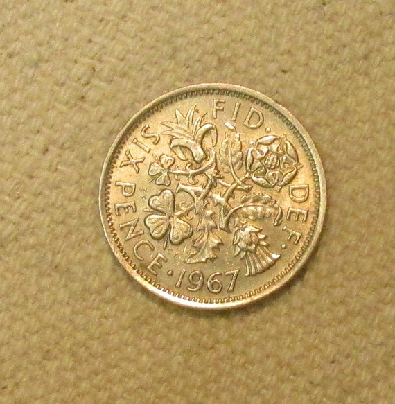 6 Pence Wedding Gift : Great Britain sixpence, 1967, Wedding 6 pence, world coin of the mid ...