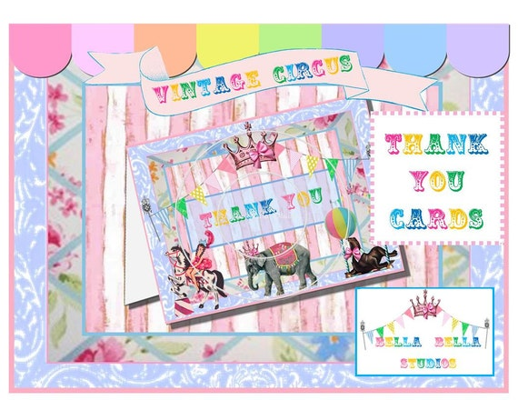 CIRCUS Thank You CARDS ~ Printable Instant Download