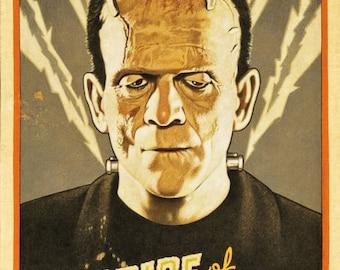 Frankenstein reproduction poster print