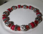 Pretty Red, Red Pearls &  Metal Suns-Set-Beaded Stretch Bracelet   (126)