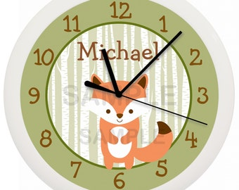 Woodland Fox Animal Nursery Wall Clock Personalized 10 Inch