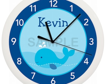 Pink or Blue Whale Personalized Nursery Wall Clock