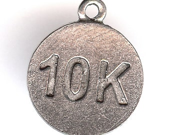 10 K Charm. Pewter Word Charm. One Sided. Running Jogging. Jog. Race. Made in the USA.
