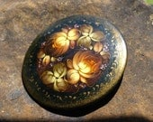 Vintage Painted Wooden Brooch Floral Russian