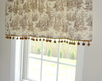 Curtain Valance Topper Window Valance 52x15 Brown/Natural Jamestown Toile Print Pom Pom Valance