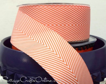 "Chevron Twill Tape, 1 1/2"" Orange Striped Ribbon - THREE YARDS - May Arts, Orange and White, Halloween, Spring, Summer Craft Ribbon Trim"