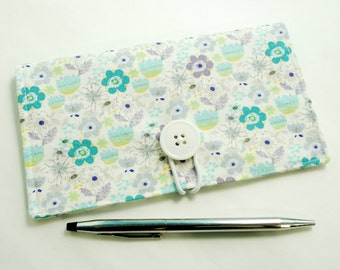 Daisies and Tulips Checkbook Cover - with Closure, with Elastic Pen Holder, OPTIONAL Vinyl Duplicate Check Divider, Flower Check book Cover