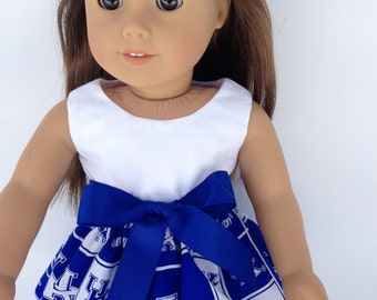 18 inch Doll Game Day Dress of University  of Kentucky fabric,  made to fit 18 inch dolls such as American Girl and similar 18 inch dolls