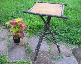 Vintage Hickory Twig Stand Tramp Art Rustic Plant Lamp Statue