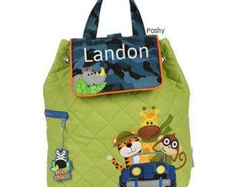Custom Boy Backpack or Baby Diaper Bag Stephen Joseph Quilted Safari NEW
