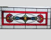 Victorian Stained glass panel window hanging red stained glass window panel stained glass transom glass valance sidelight