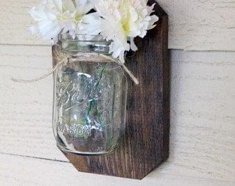 mason jar sconce. Home decor. Rustic wood.mason jar decor,HouseWarming gift