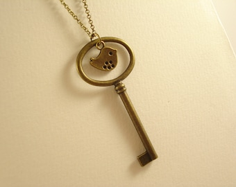 Large Key with Lovely Bird Bronze Necklace NC-506