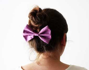 Purple hair bow, Solid purple hairbow, Purple cheerleader clip, Cute purple bow, Purple bun bow, Up dos bow, Big purple bow, Girls hairbow