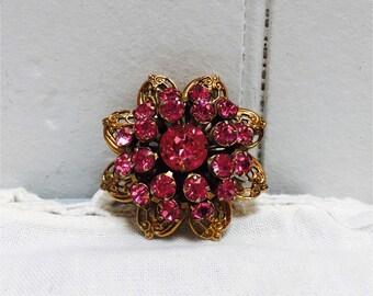 Vintage 1960s Gold & Pink Rhinestone Flower Brooch