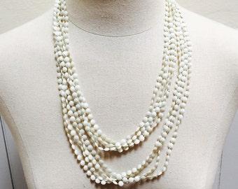 Vintage 60s White Multi-Strand Beads