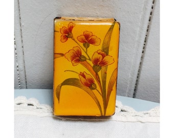 Vintage 1940s Enamel Flowers Matchbox
