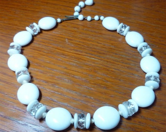 Vintage 1960s White & Crystal Bead Necklace