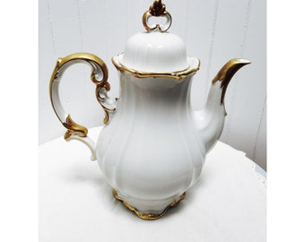 Vintage Bavarian China Teapot- White with  Gold Leaf