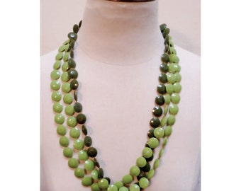 Vintage 1970s Olive Green Multi-Strand Bead Necklace