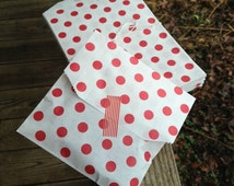 """5"""" x 7-1/2""""  Red + White Polka Dot Middy Bitty Bag • Merchandise Bag • Favor Bag • Loot Bag • Party Bags  • Goodie Bags • Gifts • Treat Bags"""