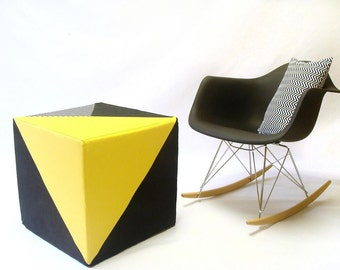 Ottoman /Pouf/Eclectic/Triangle/Geometric/Yellow/Black/Stripes/Floor Pouf/Sturdy Seating/Unique Ottoman/Foot Stool/Zigzag Studio Design