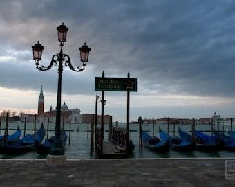 Venezia photography, Landscape print, Early morning over San Giorgio Maggiore, Gondolas, Dramatic Clouds, Venice Wall art, Travel Europe