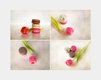 Tulips and macaroons, Food photography, Set of 4 prints, Kitchen art, Pink Tulip, Macaron lover, Café décor, Dining room wall art