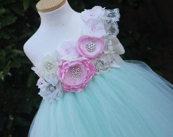 Flower Girl Dress. Mint and Pink tutu dress. Ivory flower girl tutu dress.Handmade flower dress.Girl dress.custom dress.Wedding. Birthday