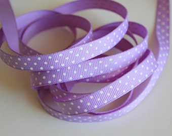 "3/8"" Grosgrain Ribbon Swiss Dots - Orchid Dotted Grosgrain- 5 yards"