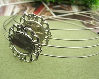 LAST: 2pcs Silver Plated W/Filigree HeadBand,Nickel Free.