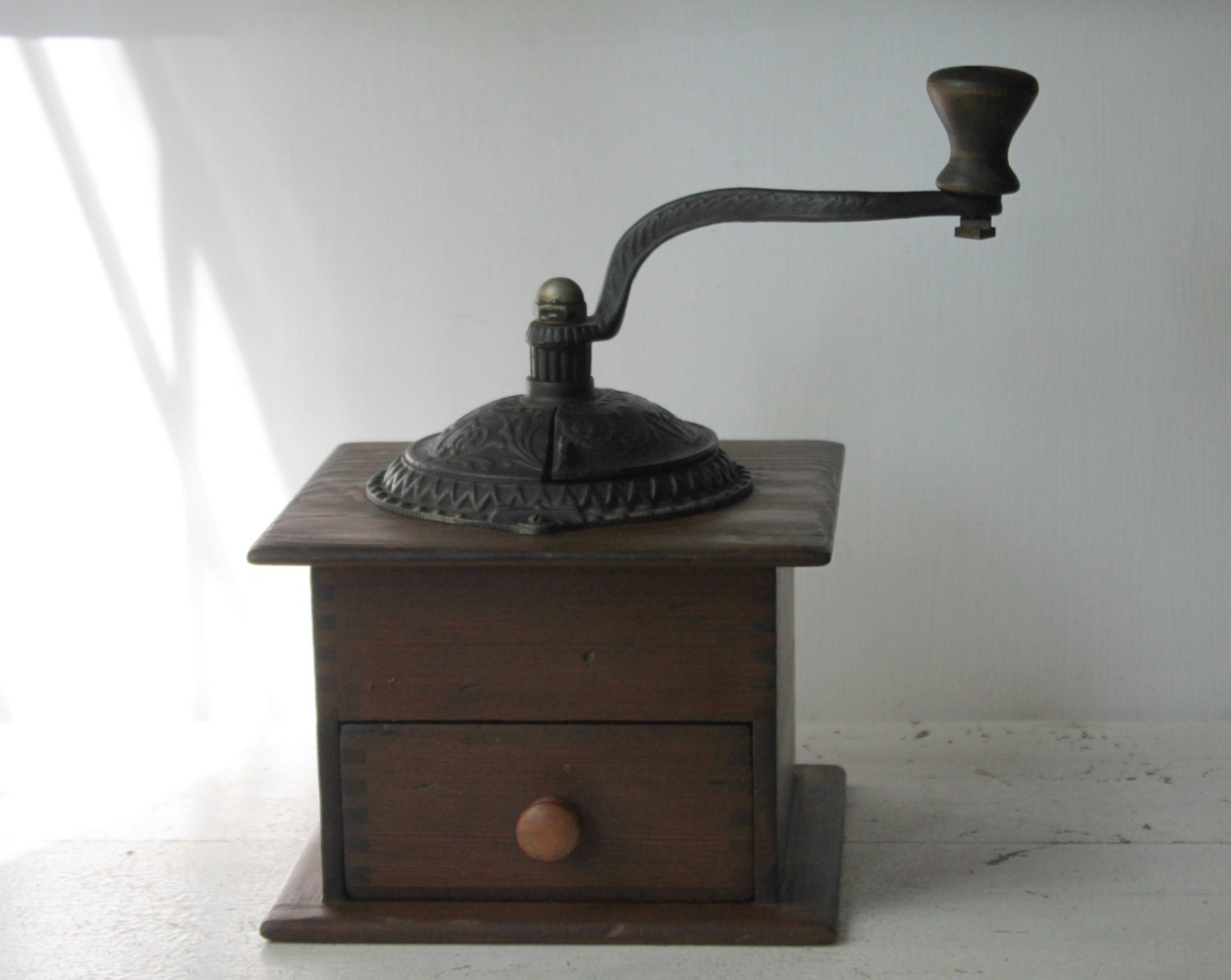 Antique Cast Iron Coffee Grinder : Antique cast iron and wood coffee grinder by myvintagelane