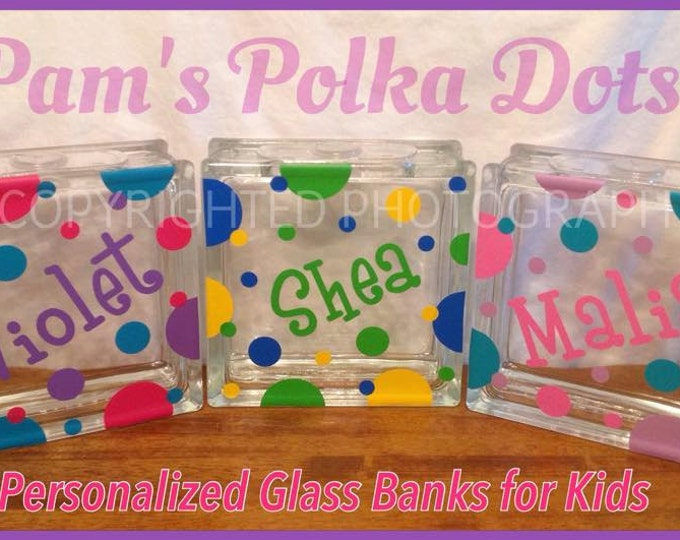 Personalized Children's GLASS PIGGY BANK with Name Initial & Polka Dots Swirls from Glass Block Birthday Gift for Kid